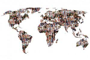 Welt Erde Weltkarte Menschen Leute Gruppe Integration multikulturell Vielfalt